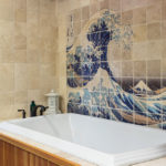 bathtub with tile surround